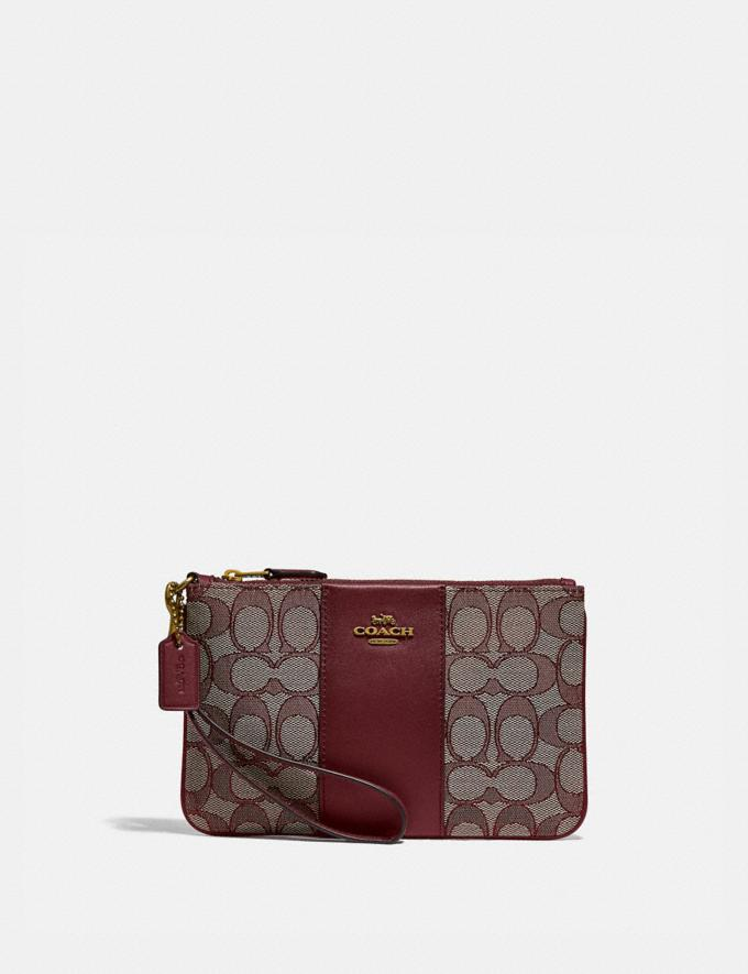 Coach Small Wristlet in Signature Jacquard B4/Burgundy Blk Cherry New Featured Lunar New Year