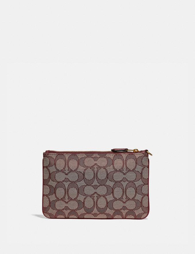 Coach Small Wristlet in Signature Jacquard B4/Burgundy Blk Cherry New Featured Lunar New Year Alternate View 1