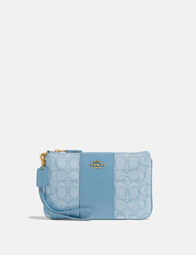 Coach Small Wristlet in Signature Jacquard Brass/Marble Blue Azure