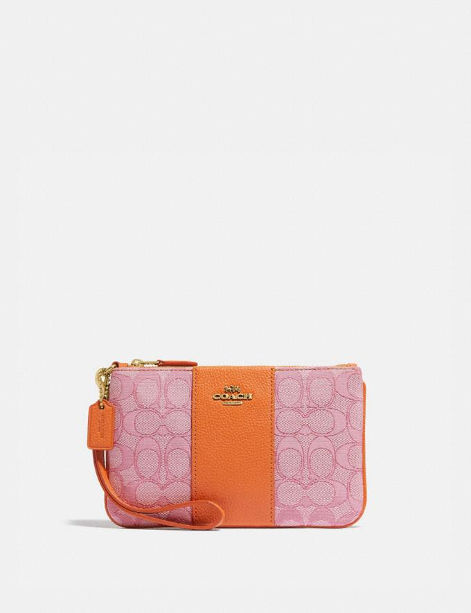Coach Small Wristlet in Signature Jacquard B4/Taffy Orange New Women's New Arrivals Small Leather Goods