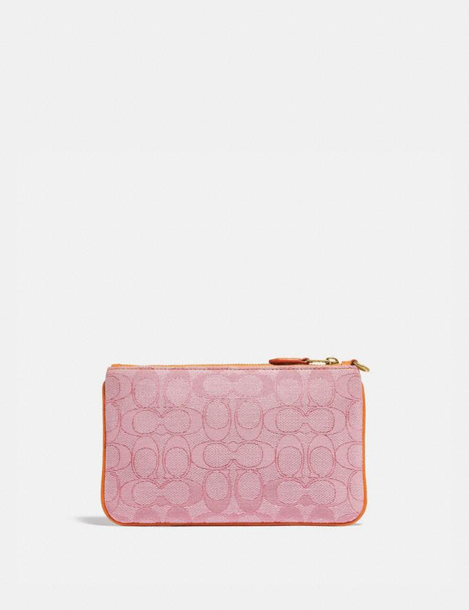 Coach Small Wristlet in Signature Jacquard B4/Taffy Orange New Women's New Arrivals Small Leather Goods Alternate View 1