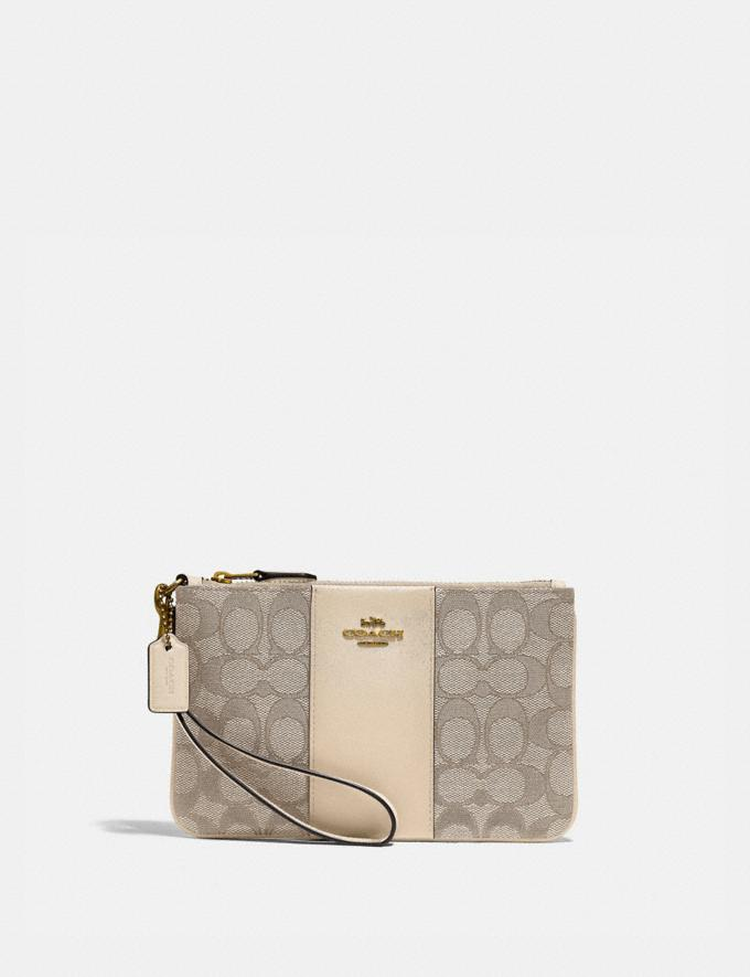 Coach Small Wristlet in Signature Jacquard Brass/Stone Ivory