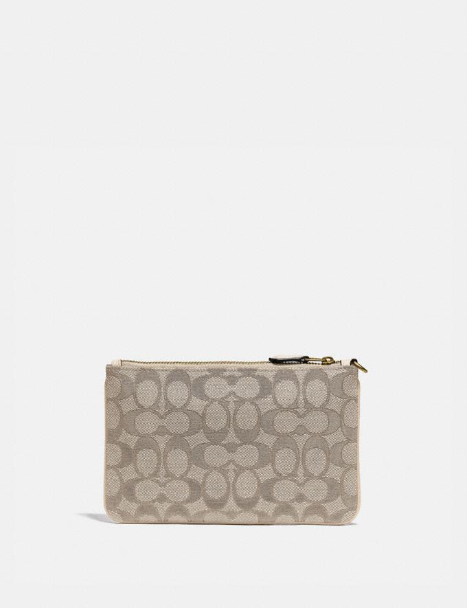 Coach Small Wristlet in Signature Jacquard Brass/Stone Ivory  Alternate View 1