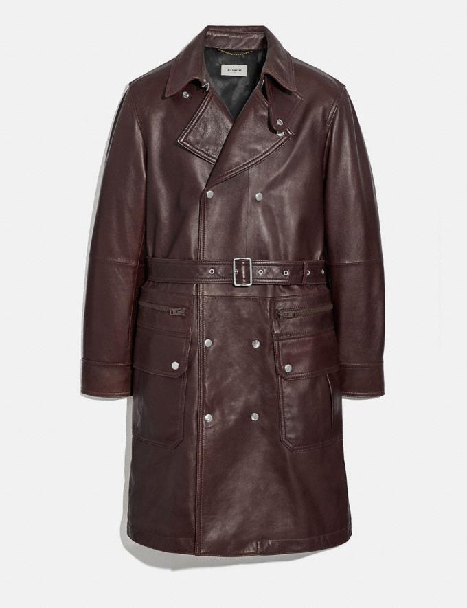 Coach Leather Raincoat Espresso New Men's New Arrivals Ready-to-Wear