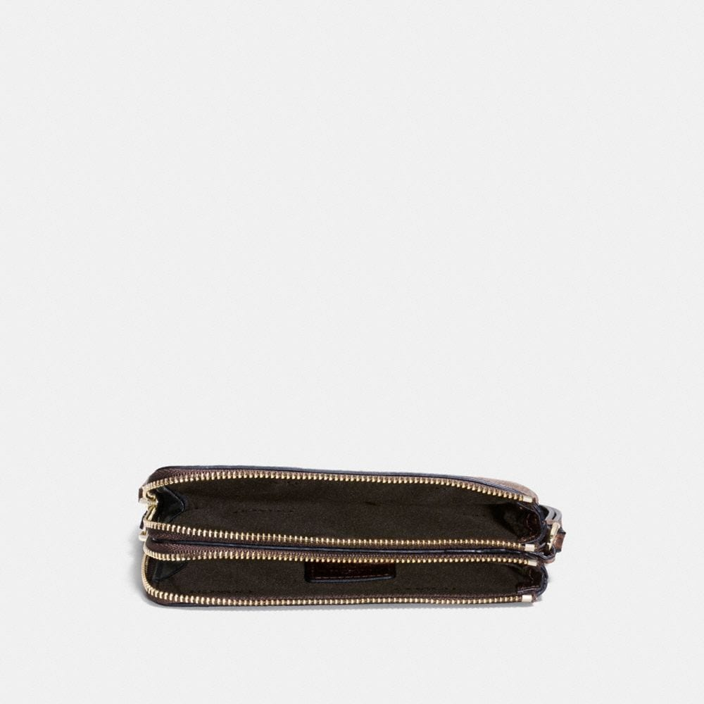 Coach Double Corner Zip Wristlet in Polished Pebble Leather Alternate View 1