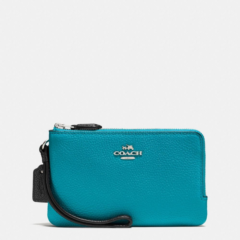 DOUBLE CORNER ZIP WRISTLET IN COLORBLOCK LEATHER