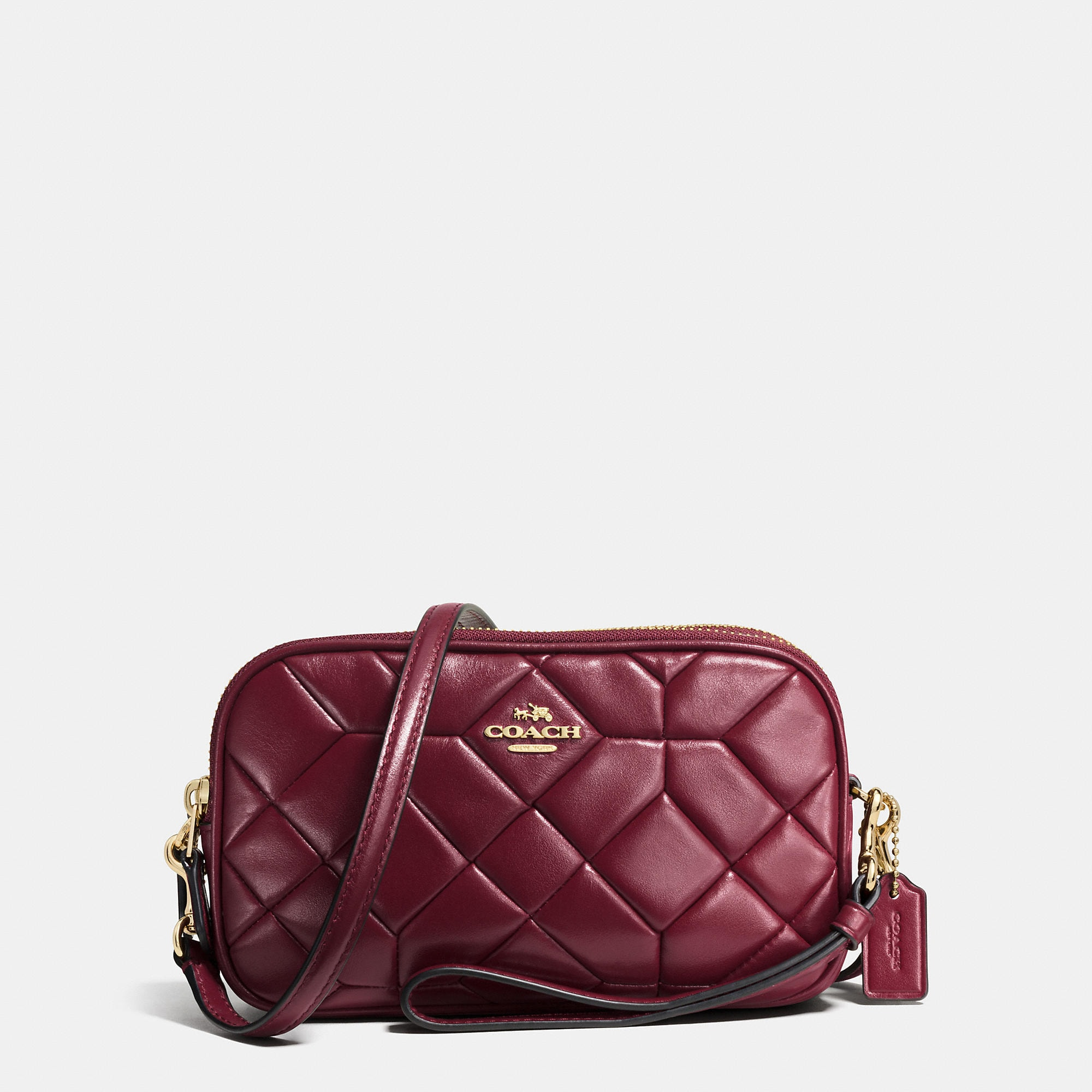 Coach Canyon Quilt Crossbody Clutch In Calf Leather