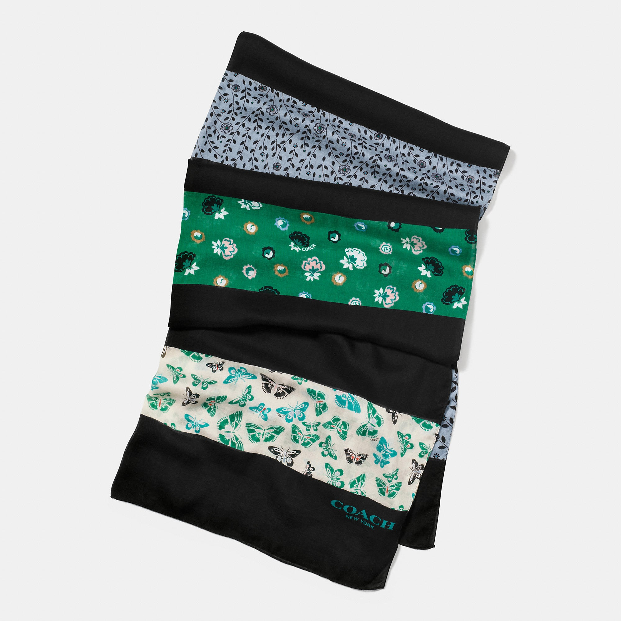 Coach Butterfly Patchwork Oblong Scarf