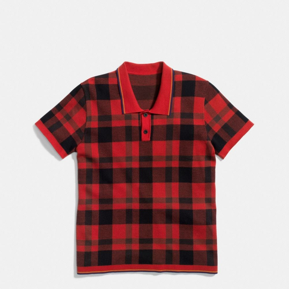 PLAID HENLEY COLLAR POLO
