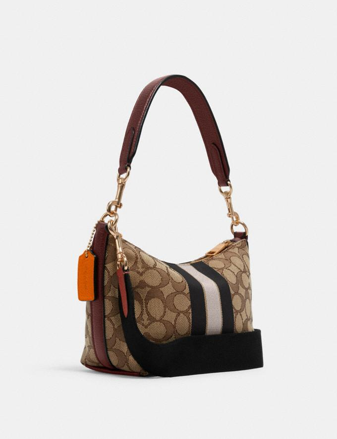 Coach Dempsey Shoulder Bag in Signature Jacquard With Stripe and Patch Im/Khaki Sunbeam Multi DEFAULT_CATEGORY Alternate View 1