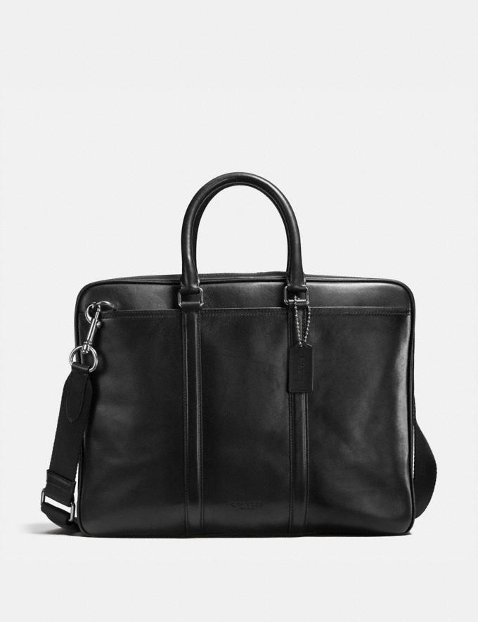 Coach Metropolitan Slim Brief Black Antique Nickel/Black Personalise Personalise It Monogram For Him