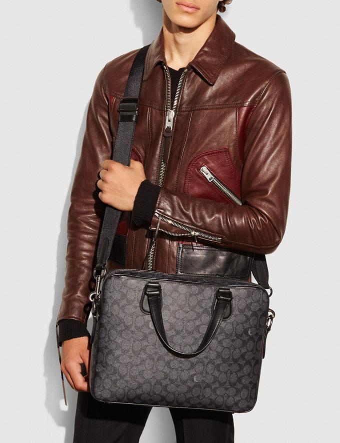 Coach Hudson 5 Bag in Signature Coated Canvas Black Antique Nickel/Charcoal Women Bags Signature Bags Alternate View 3