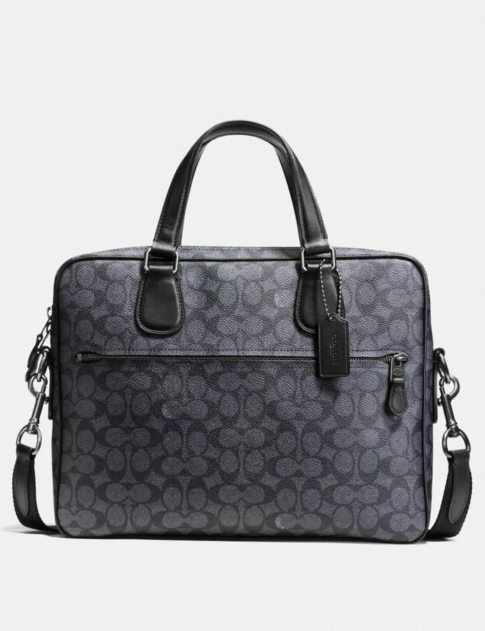 Coach Hudson 5 Bag in Signature Coated Canvas Black Antique Nickel/Charcoal Women Bags Signature Bags