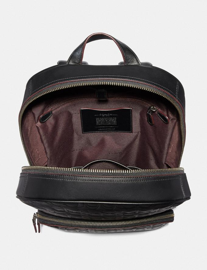 Coach Kennedy Backpack in Signature Leather Black/Black Antique Nickel Men Bags Backpacks Alternate View 2