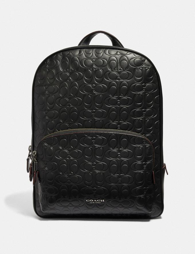 Coach Kennedy Backpack in Signature Leather Black/Black Antique Nickel Men Bags Backpacks