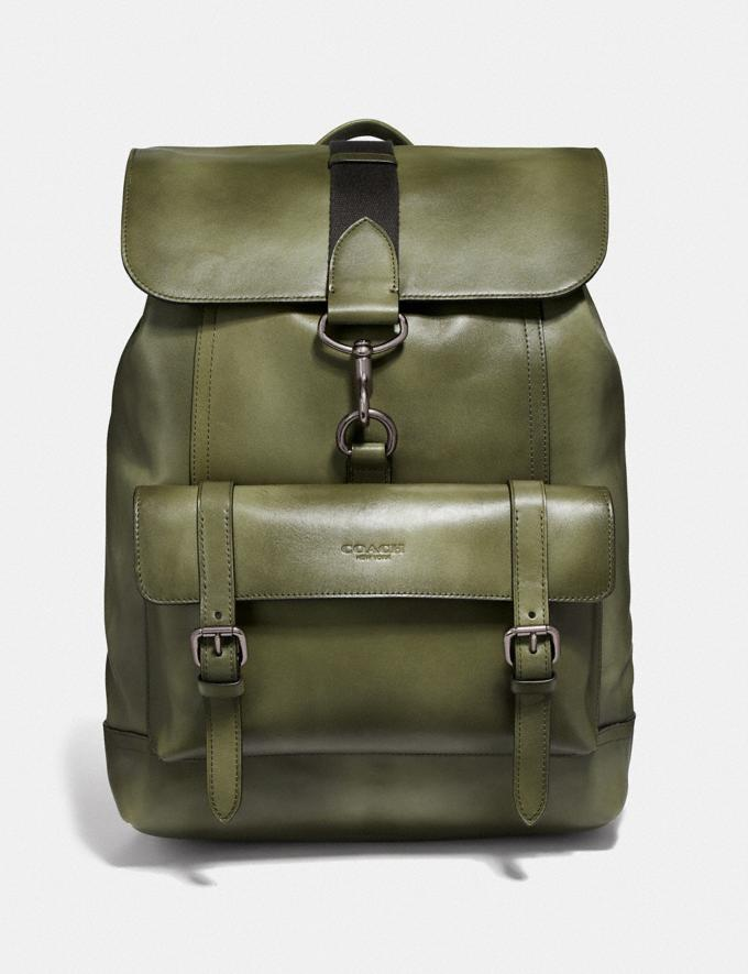 Coach Bleecker Backpack Olive/Black Antique Nickel Men Bags Backpacks