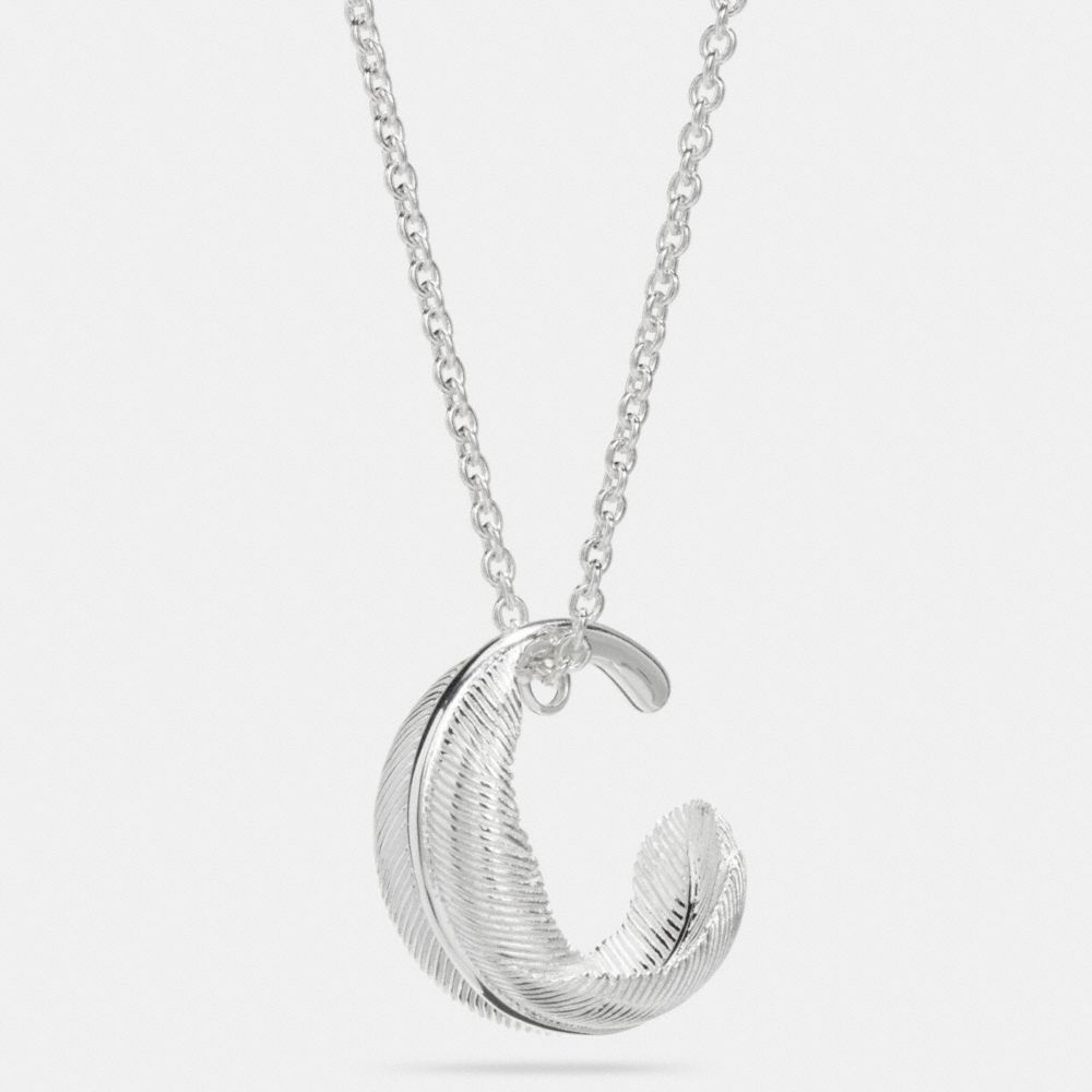 Coach Sterling Silver Circle Feather Necklace