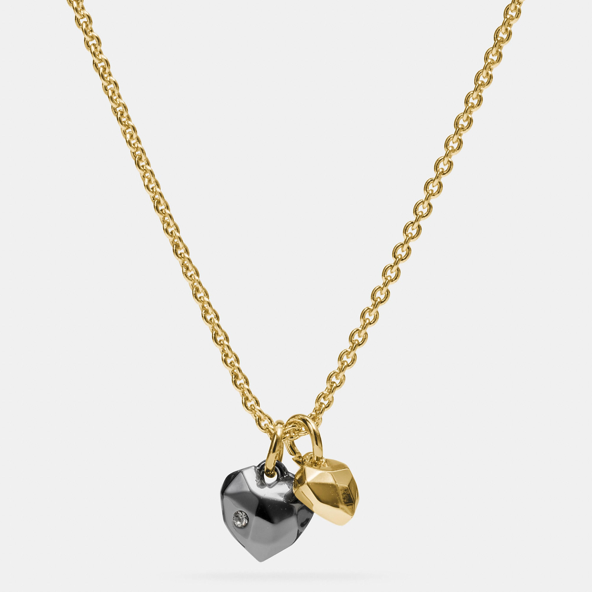 Coach Faceted Heart Charm Necklace
