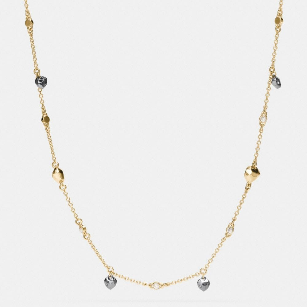 Coach Long Faceted Heart Necklace