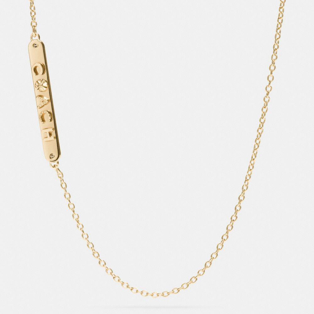 Long Coach Plaque Necklace