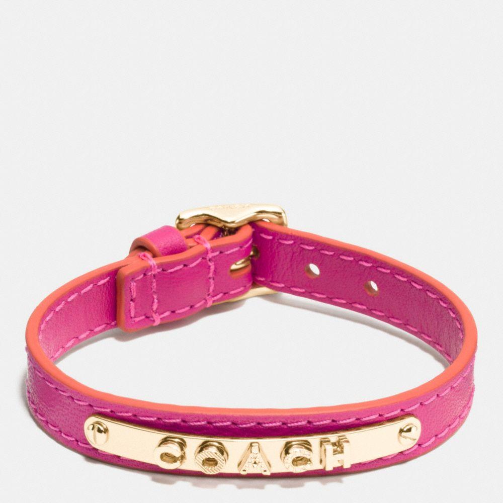 Coach Leather Buckle Coach Plaque Bracelet