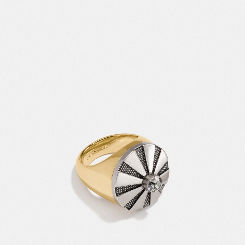 Coach Large Daisy Rivet Cocktail Ring