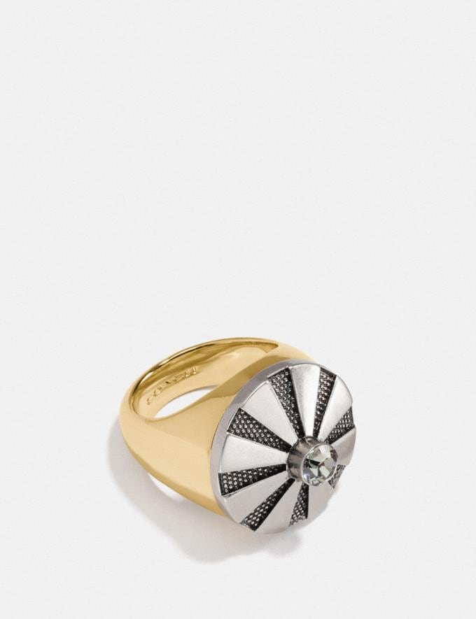 Coach Large Daisy Rivet Cocktail Ring Silver/Gold Women Accessories Jewelry Rings