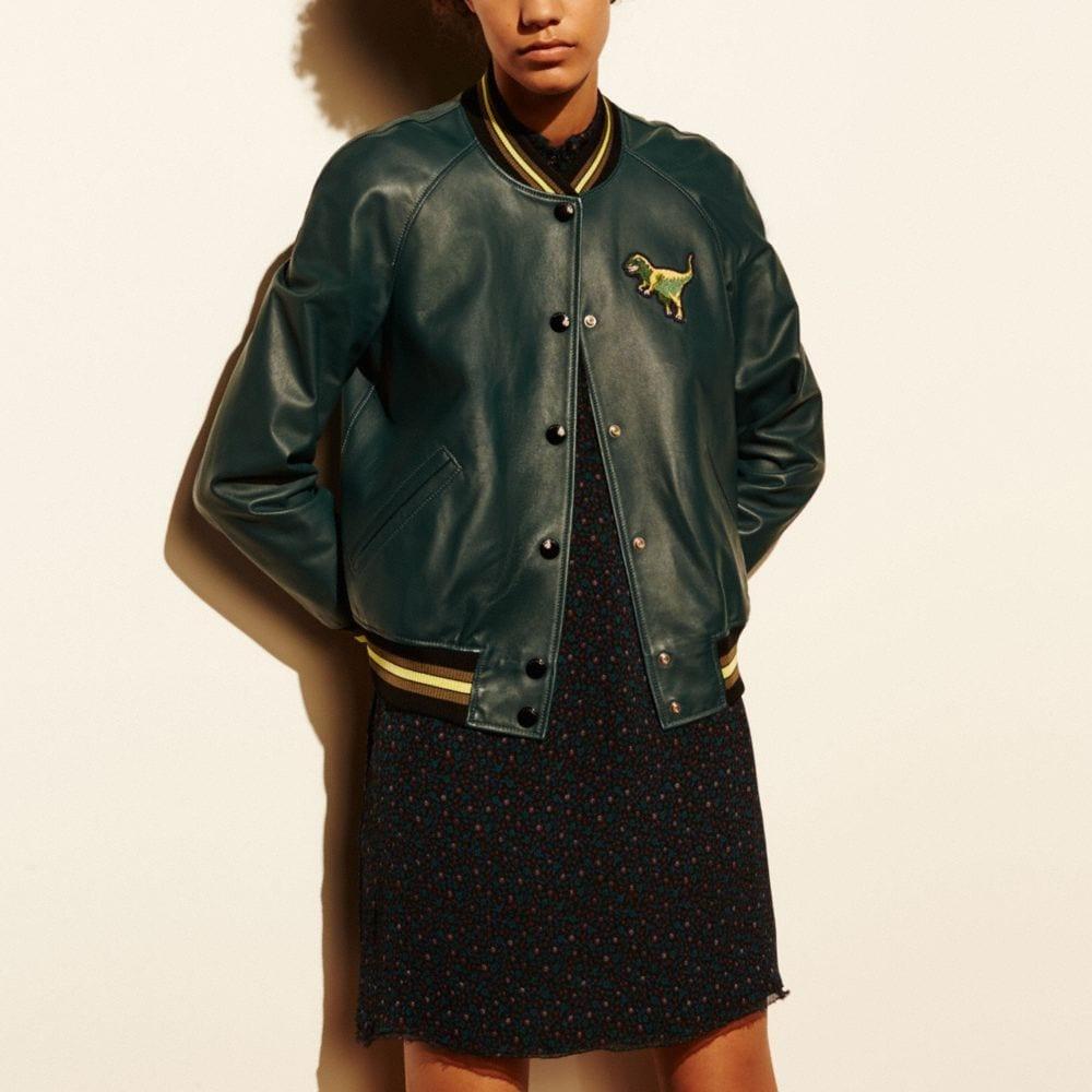 Leather T-Rex Varsity Jacket