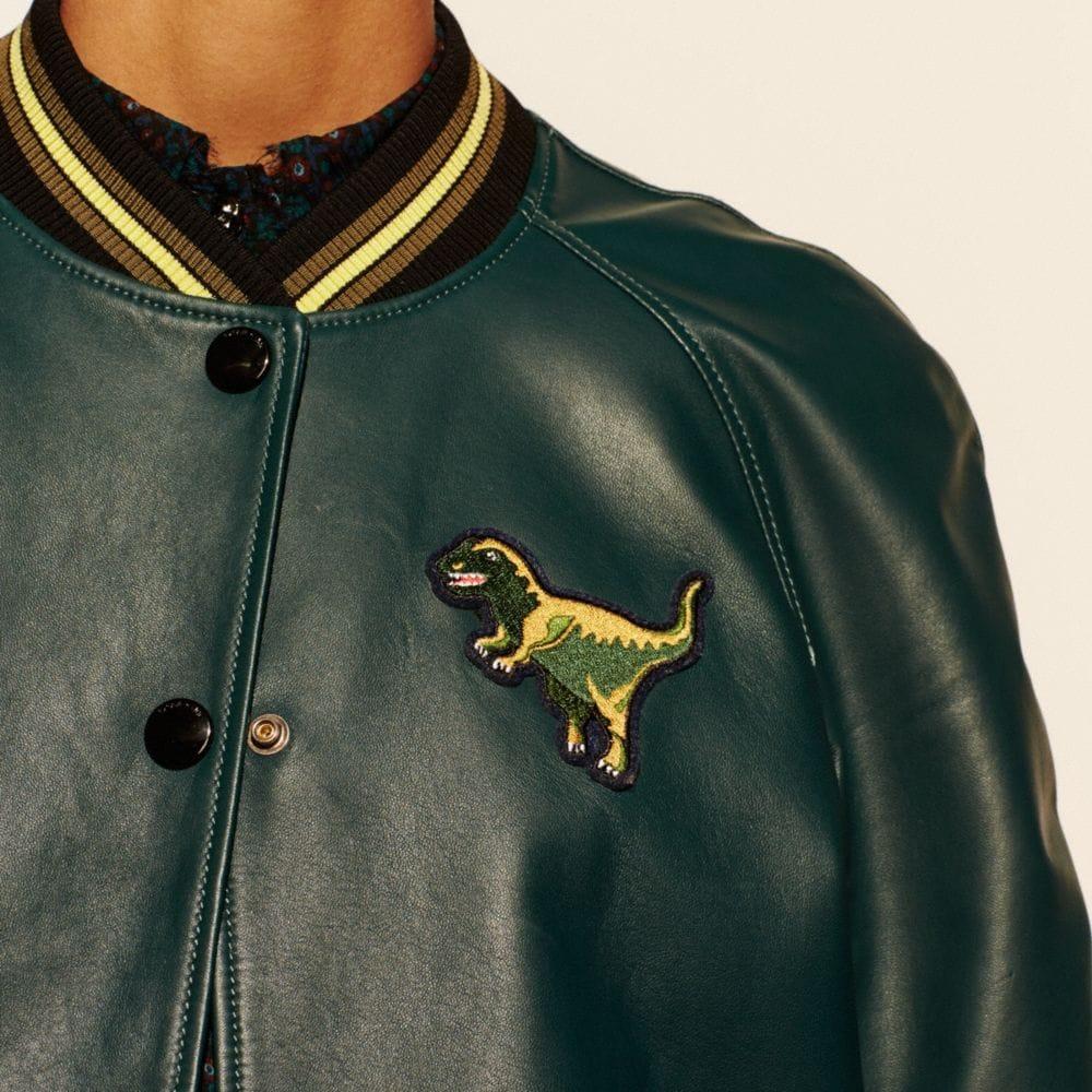 Leather T-Rex Varsity Jacket - Alternate View M2