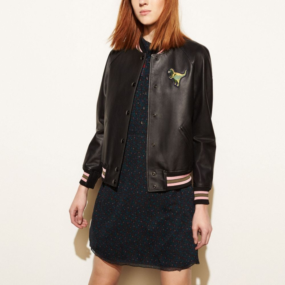 LEATHER REXY VARSITY JACKET