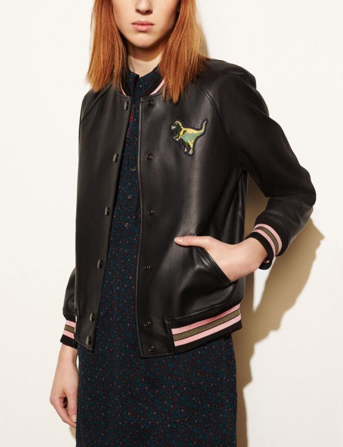 Coach Leather Rexy Varsity Jacket Black Women Ready-to-Wear Outerwear Alternate View 3