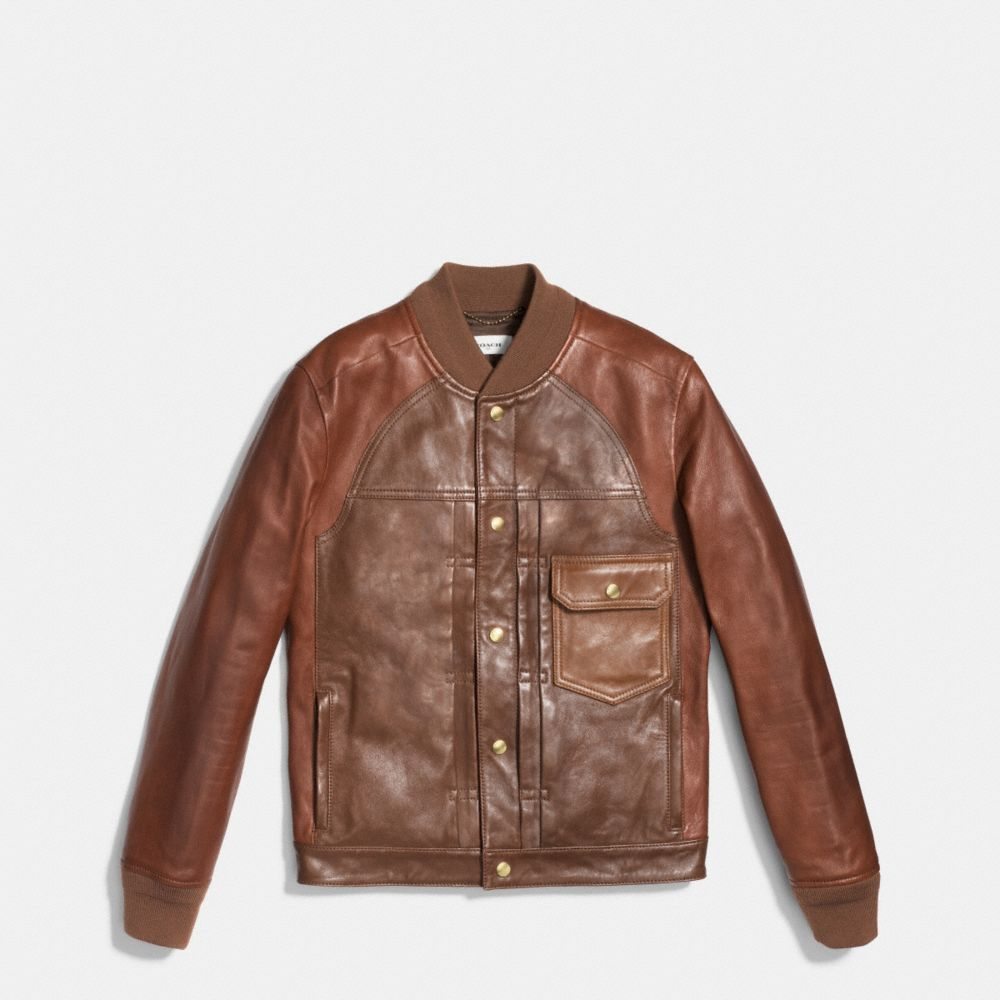 Coach Patched Leather Varsity Jacket