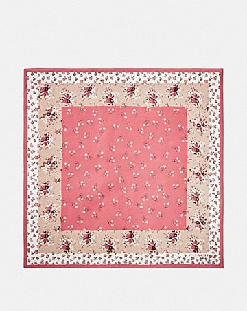 FLORAL BOW PRINT SILK SQUARE SCARF