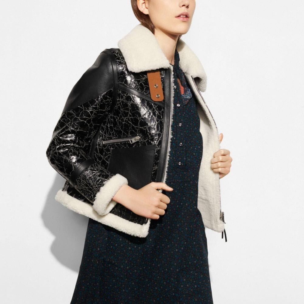 CRACKLED SHEARLING AVIATOR JACKET