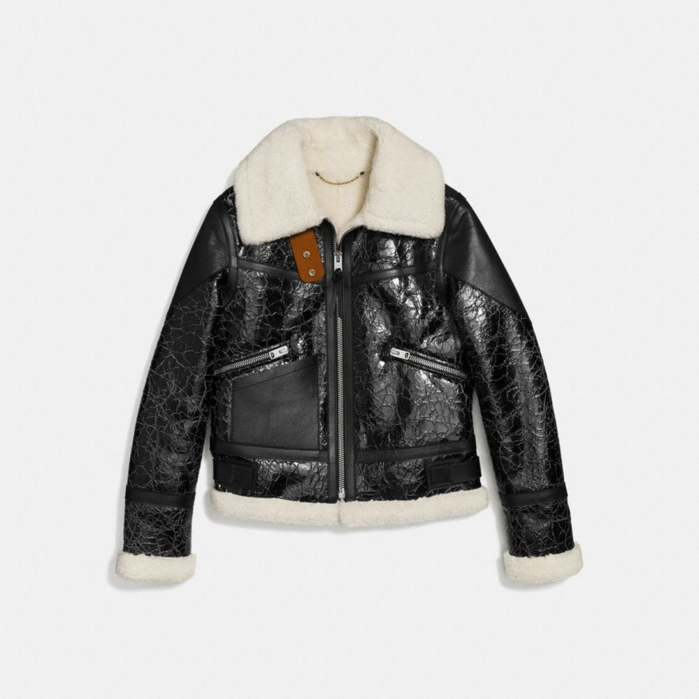Crackled Shearling Aviator Jacket - Alternate View A1