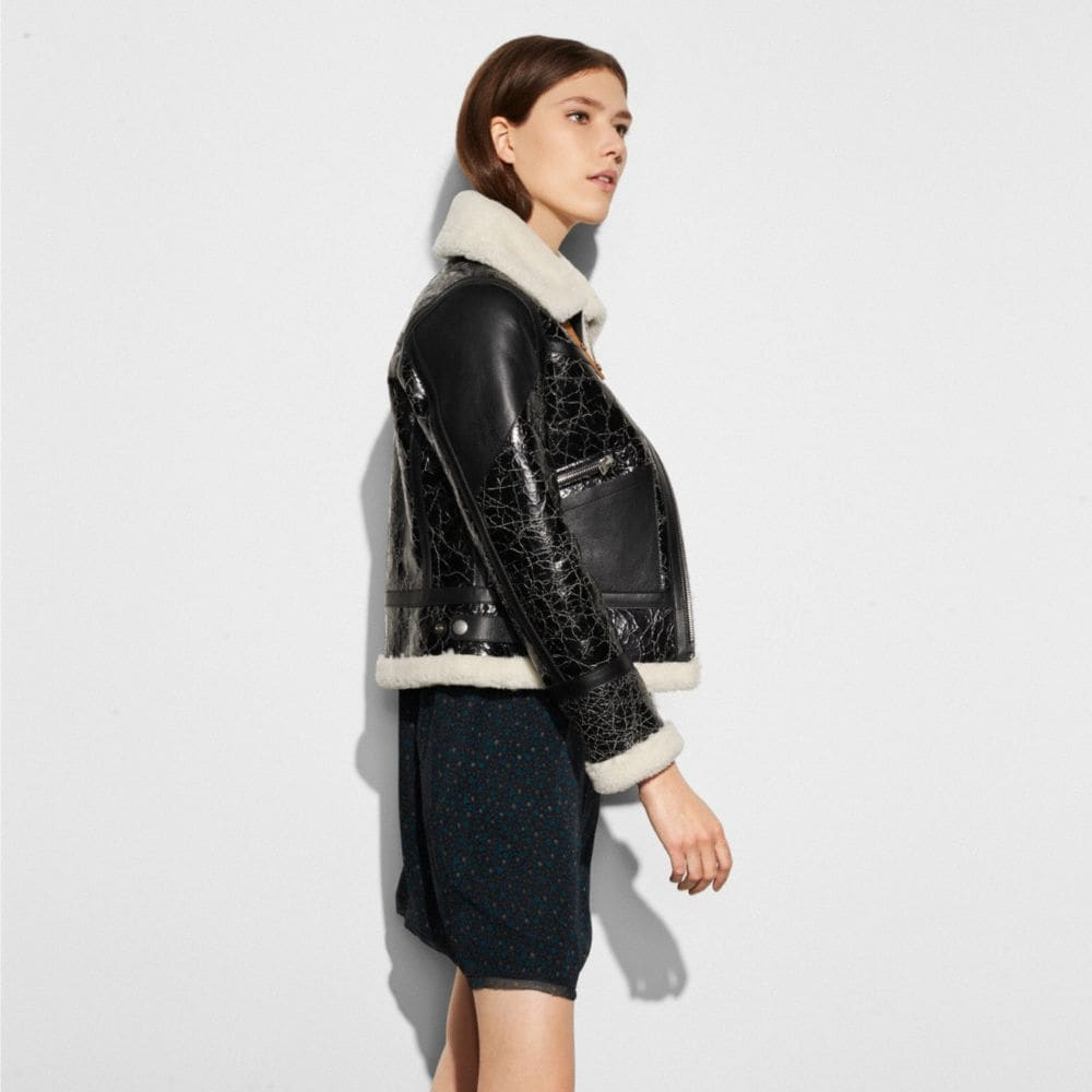Crackled Shearling Aviator Jacket - Alternate View M
