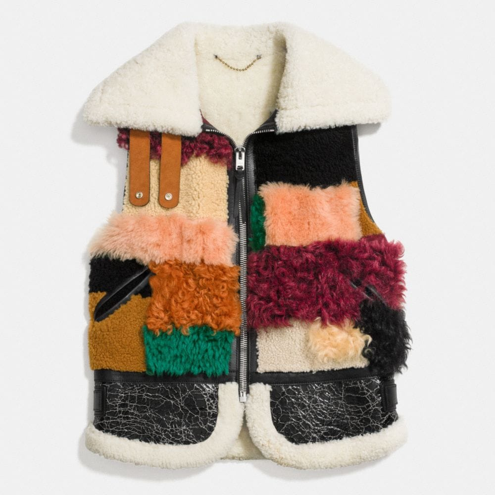 Coach Patchwork Shearling Vest Alternate View 1