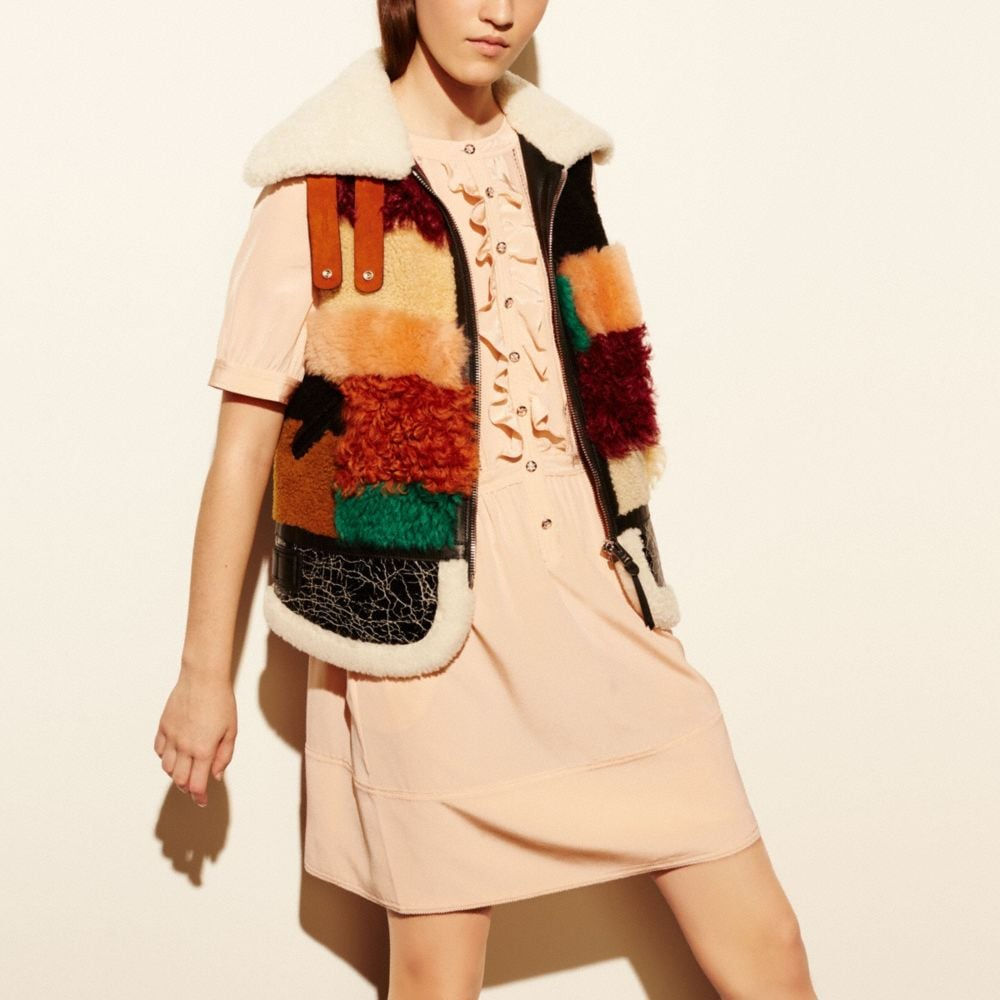 PATCHWORK SHEARLING VEST - Alternate View M1