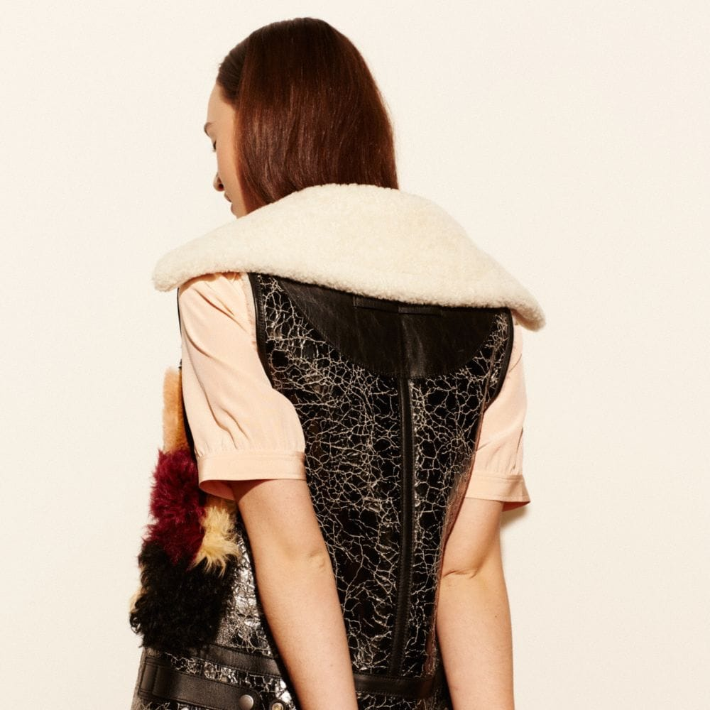 PATCHWORK SHEARLING VEST - Alternate View M3