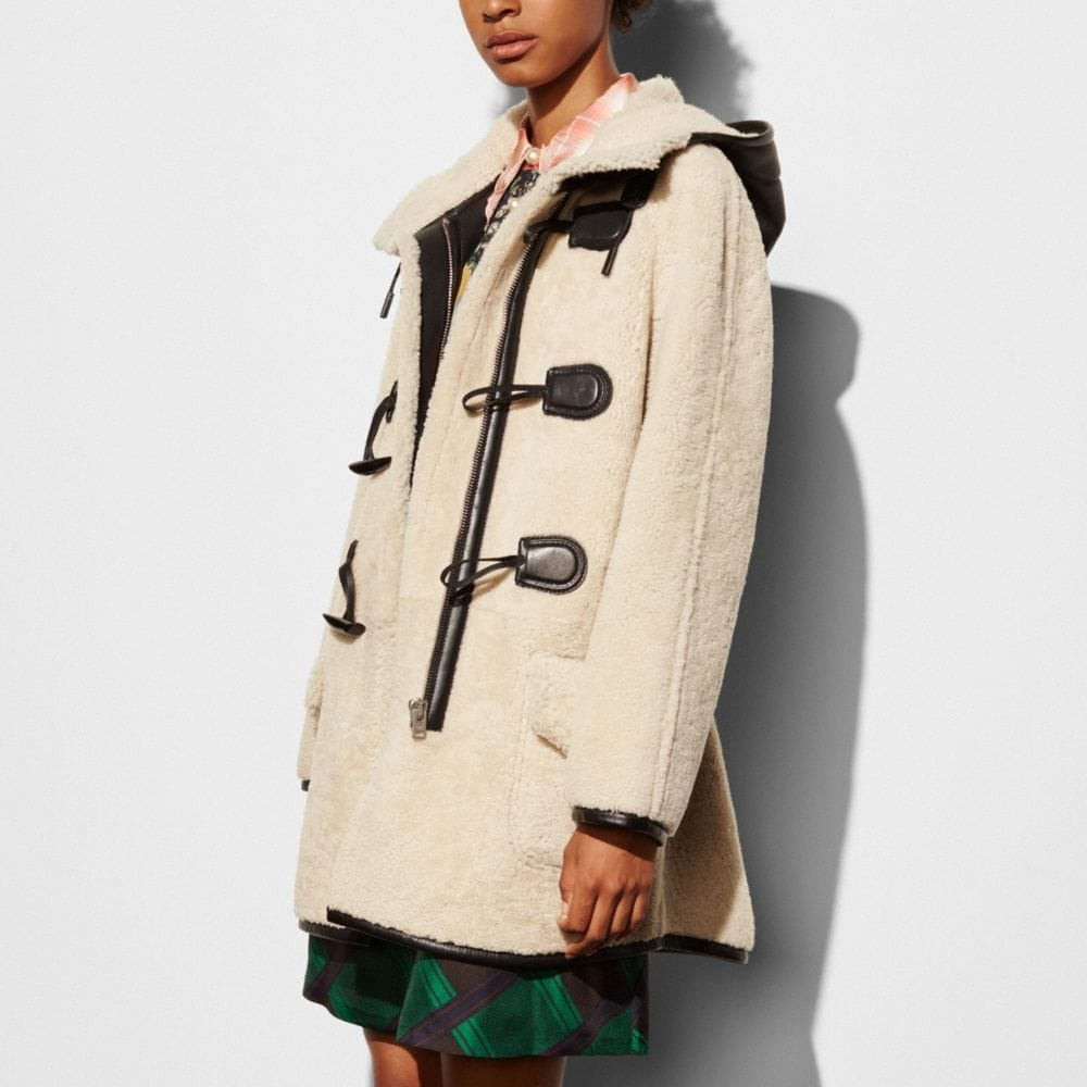 Shearling Toggle Coat - Alternate View M1
