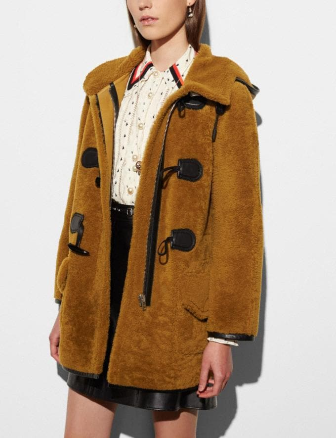 Coach Shearling Toggle Coat Honey Women Ready-to-Wear Outerwear
