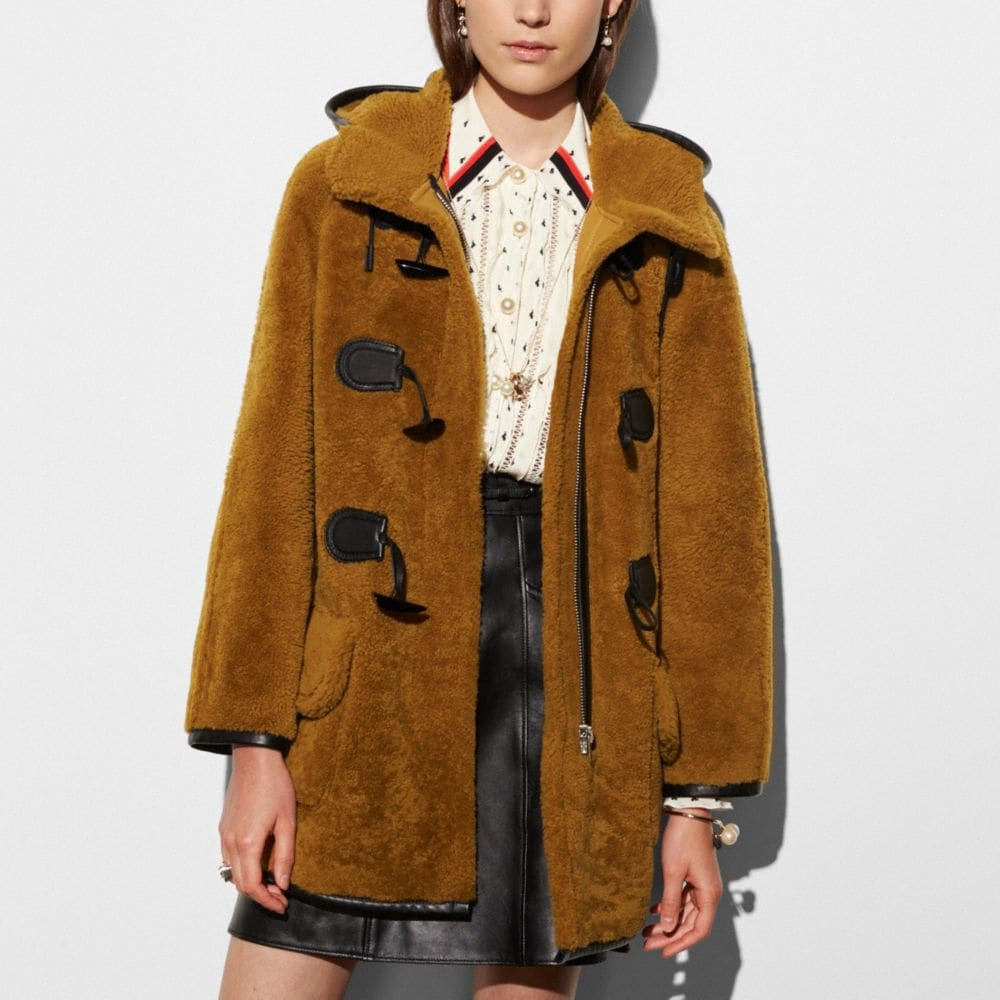 Coach Shearling Toggle Coat Alternate View 2