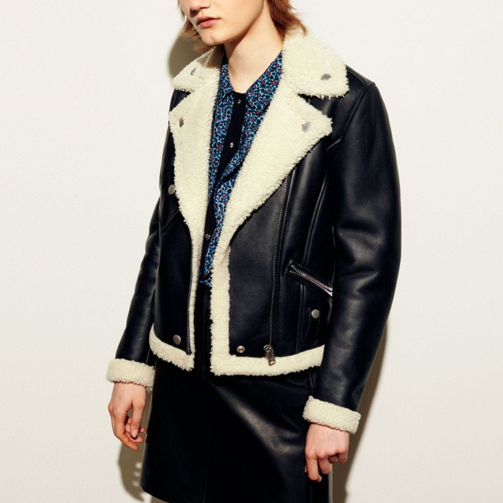 Coach Shearling Moto Jacket