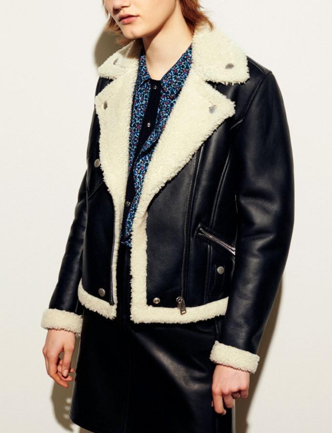 Coach Shearling Moto Jacket Black/Creme Women Ready-to-Wear Outerwear