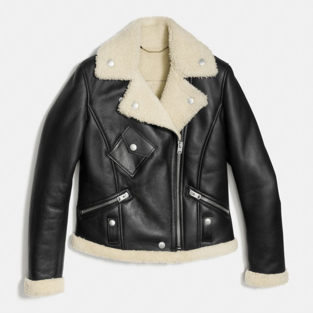 Coach Shearling Moto Jacket Alternate View 1