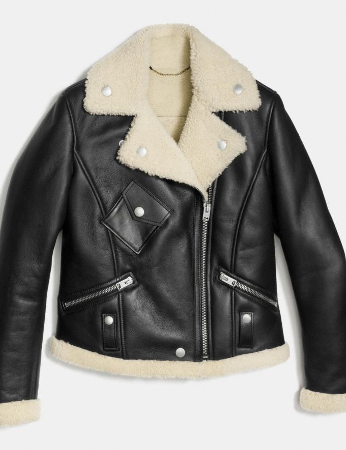 Coach Shearling Moto Jacket Black/Creme Women Ready-to-Wear Outerwear Alternate View 1