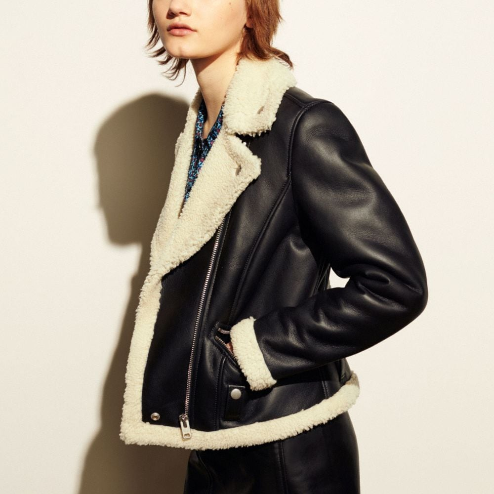 Coach Shearling Moto Jacket Alternate View 3