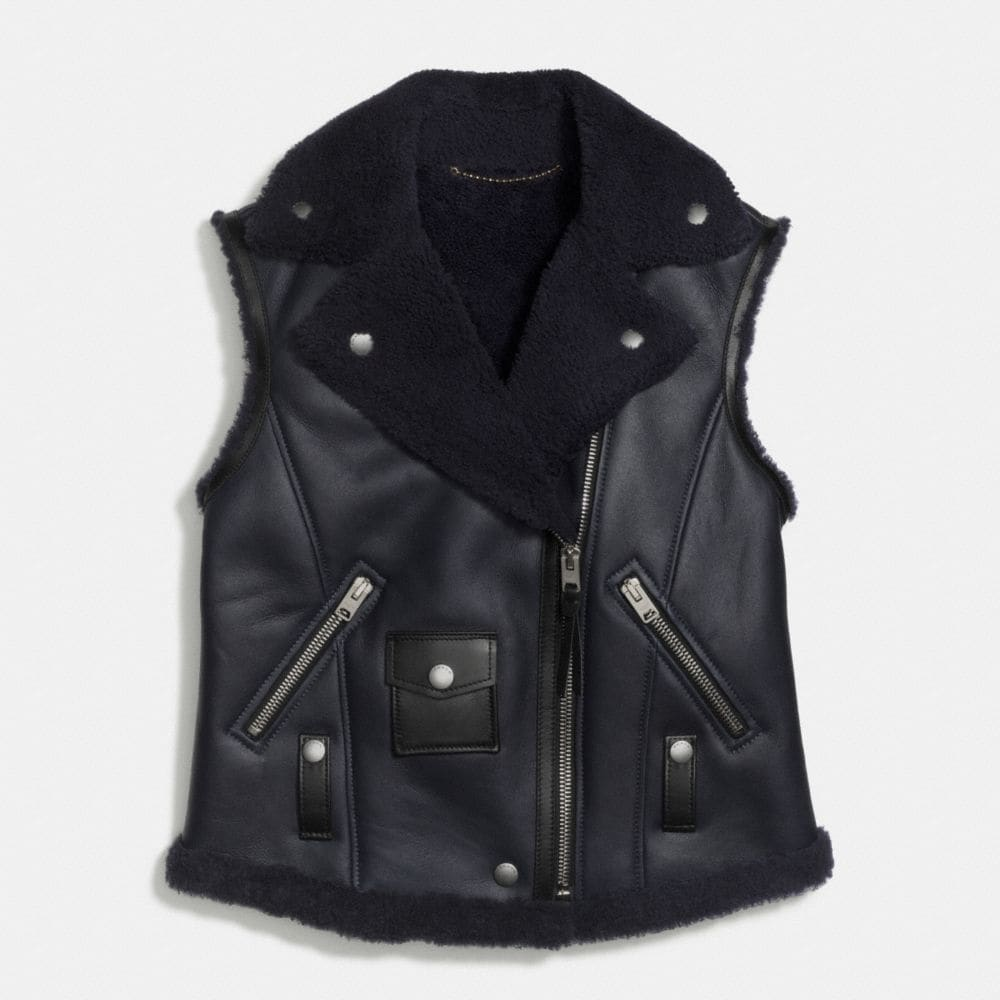 Coach Shearling Moto Vest Alternate View 1