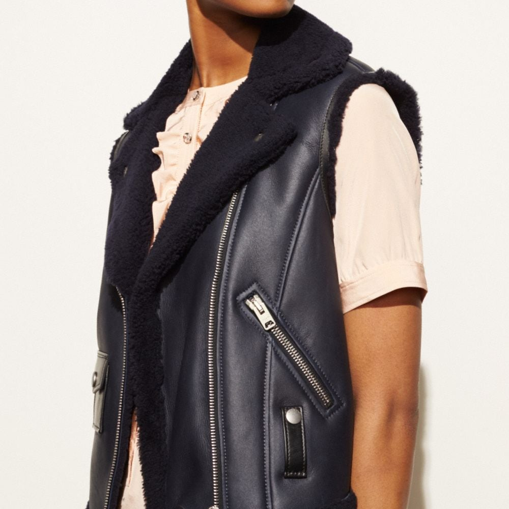 Coach Shearling Moto Vest Alternate View 3