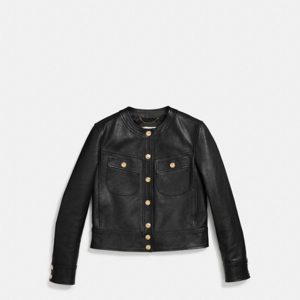 Coach Collarless Leather Jacket Alternate View 1